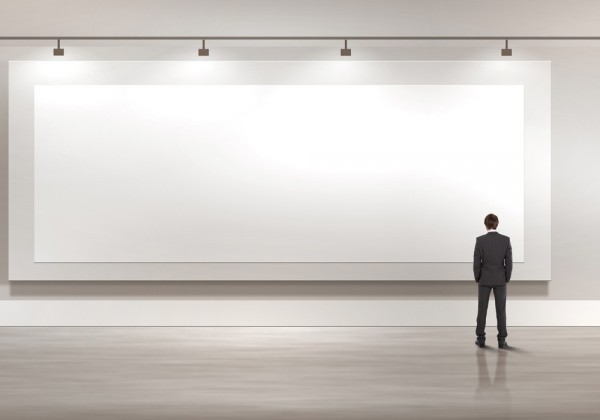 blank canvas billboard white businessman