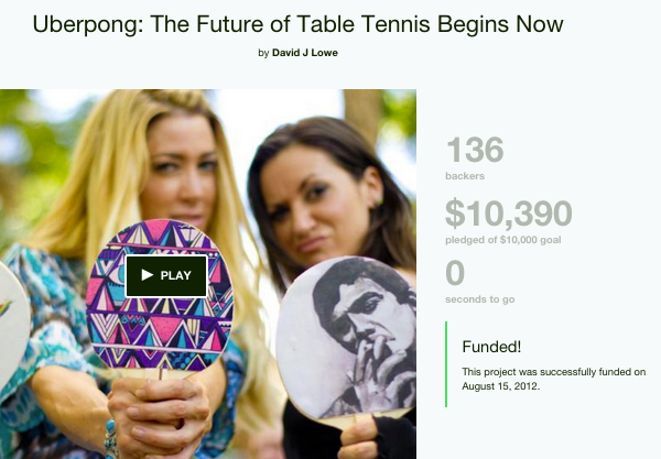 Uberpong Kickstarter funded campaign success