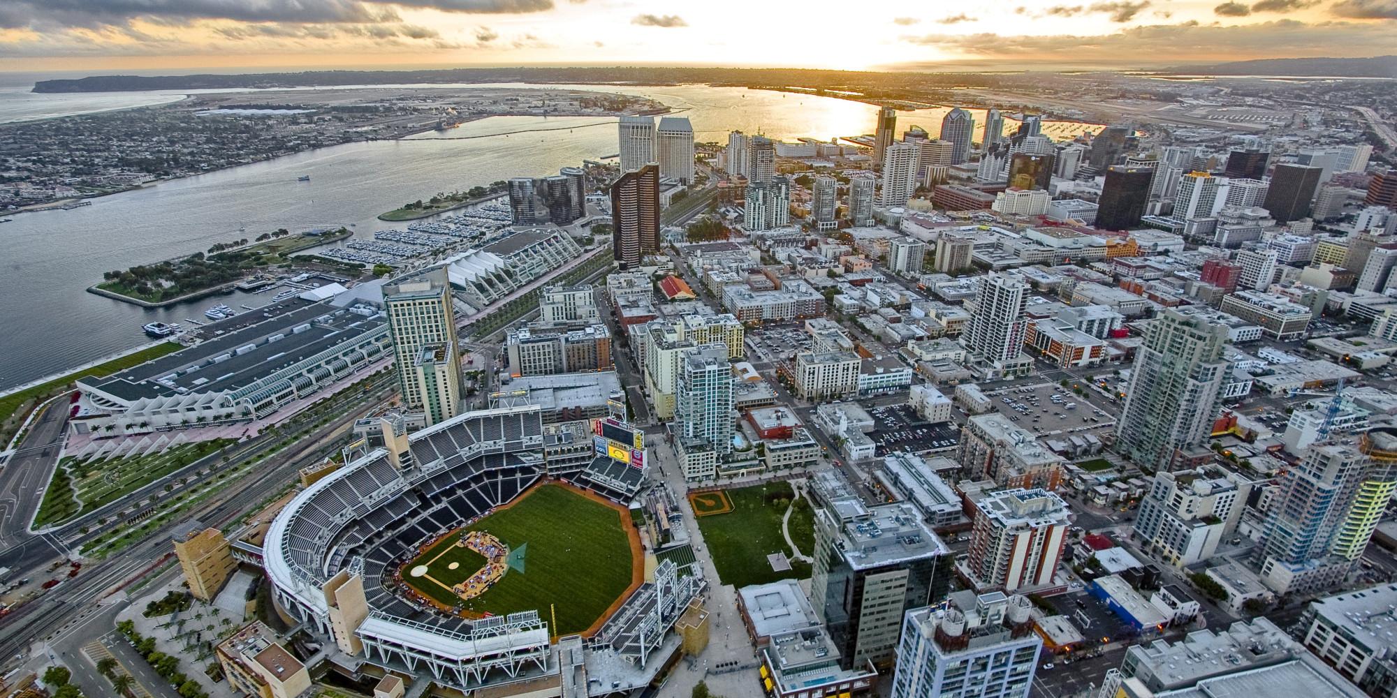 san diego aerial photo padres baseball ballpark