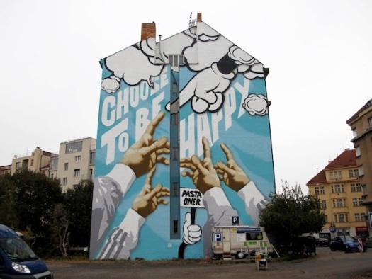street art happy prague czech republic